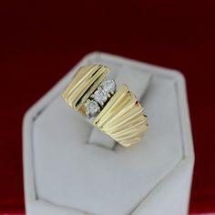 Yellow Gold 3 Genuine Diamond Fashion Ring