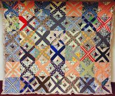 A+ Rare African American Hand Stitched Feedsack Folk Art X Cross Quilt