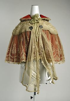 Red Silk & Ivory Lace Cape, French, 1897.