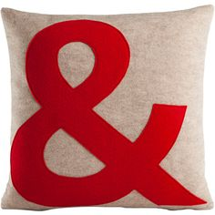 Alexandra Ferguson Ampersand Decorative Throw Pillow ($72) ❤ liked on Polyvore featuring home, home decor, throw pillows, red throw pillows, red toss pillows, modern home decor, red accent pillows and modern throw pillows
