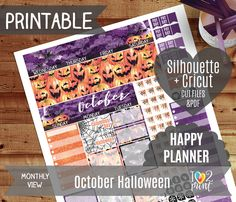 October Halloween Monthly View Stickers Printable Planner