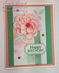 Paper Pumpkin - April 2019 - Sentimental Rose.  Click on link to see all of my alternative Sentimental Rose PP Cards. Birthday Cards, Happy Birthday, Paper Pumpkin, Stampin Up, Mixed Media, Alternative, Scrapbooking, Paper Crafts, Rose