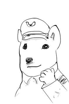 I sketched a dog at the SoftBank shop.