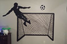 soccer player with goal painted on wall Child Room, Kids Room, Boy Sports Bedroom, Joseph, Goal, Soccer, Children, Painting, Home Decor