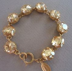 CATHERINE POPESCO STUNNING Champagne Swarovski Crystal Goldtone Bracelet NWT