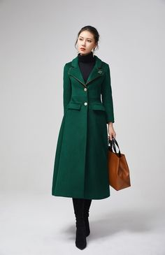 Long Sleeve Lapel Collar Single Breasted Wool Blend Coat With Brooch, Women Green Swing Hem Long Wool Coat xiaolizi Green Wool Coat, Long Wool Coat, Long Coat Outfit, Long Wool Skirt, Wool Overcoat, Maxi Coat, Special Occasion Outfits, Coats For Women, Wool Blend
