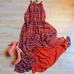 Hp 11/27 Aztec Print High Low Dress