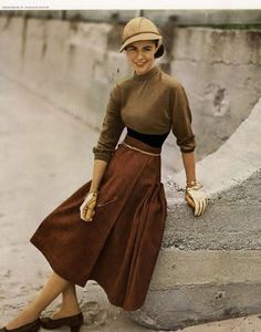 Chronically Vintage: Fabulous 1940s Fall Fashion Inspiration brown skirt sweater knit winter fall colors hat shoes gloves sporty sportswear day casual early 50s