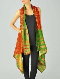 Orange Upcycled Silk-Saree Kantha Shrug by Vintage Sari Makeover -- handmade