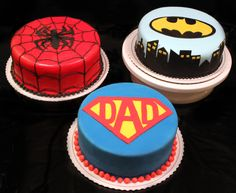 Super Cupcakes Cakes For Boys Fathers Day Ideas Fancy Cakes, Cute Cakes, Mini Cakes, Sweet Cakes, Superhero Cake, Superhero Ideas, Superhero Alphabet, Party Food Themes, Party Ideas