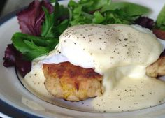 Crab Cakes Florentine/Eggs Benedict with Crab Cakes. Had these at a breakfast joint on the coast of Oregon and I've been dreaming about them ever since!!