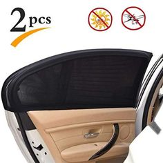 uxcell 2 Pcs 70 x 53cm Car Side Window SunShade Polyester Cloth Curtain UV Protection