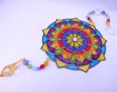 Mandala vitral em PVC 13 cm