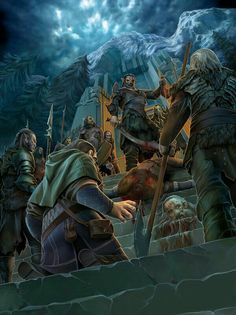 m Orc Fighter Azog killed the Dwarf King Thror at Moria, and sent Nar m Dwarf Fighter back to their Kingdom with the message and the King's head. Hobbit Art, The Hobbit, History Of Middle Earth, J. R. R. Tolkien, Fantasy Paintings, Fantasy Artwork, Dark Winter, Lotr, Fantasy World