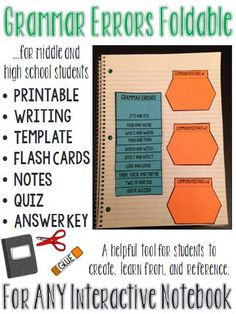 This grammar foldable is a perfect addition to an existing interactive notebook, or perhaps the start of a new one. #ELA #MiddleSchool #HighSchool #InteractiveNotebook