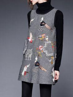 Shop Mini dresses - Gray Animal Print Sweet Mini Dress online. Discover unique designers fashion at StyleWe.com.