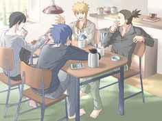 Sai, Sasuke, Naruto, Shikamaru... I don't know why, but I love this freaking picture<<why is Sai sitting like L?!?!