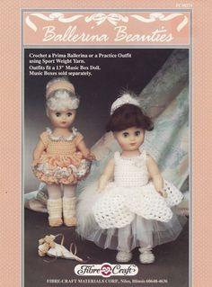 Ballerina Beauties, Fibre Craft 13 inch Doll Clothes Crochet Pattern Booklet FCM274