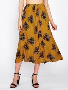 f23e7f0a4c6 Botanical Print Elastic Waist Skirt Elastic Waist Skirt