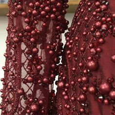 Sleeve and hip detail of a finished, fully #beaded #silk #gown…