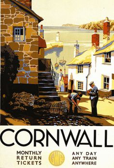 vintage travel posters travel posters of ireland. Cornwall vintage travel poster This beautiful travel poster reminds me a lot of th. Posters Uk, Railway Posters, Vintage Travel Posters, Retro Posters, Old Poster, Poster Ads, Poster Prints, Art Print, Giclee Print