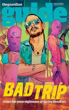 Spring Breakers on the cover of The Guardian Guide. The film itself was bad (storyline was good but it was too rude for me) , but some of the visuals were really cool. (Especially the scene where they're dancing around a pink pains singing Britney Spears' song 'everytime' with guns and pink balaclavas.