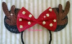 Minnie Mouse Ears Headband Ready To Ship Reindeer Jingle Bells Christmas Big Red Bow Fits Adults and Children