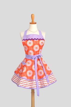 Ruffled Retro Apron Sexy Womens Apron in Mod by CreativeChics
