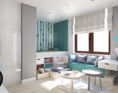 Młodzieżowy pokój dla żywiołowego nastolatka - Duży pokój dziecka dla chłopca dla dziewczynki dla rodzeństwa dla ucznia dla malucha dla nastolatka, styl nowoczesny - zdjęcie od Monostudio Wnętrza