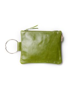 Green leather wristlet purse Evening Leather bag di maykobags