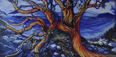 """'A Blaze of Glory'  ( 18x 38"""") Walnut oil"""