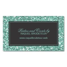 Mint Look Glitter Business Card. Make your own business card with this great design. All you need is to add your info to this template. Click the image to try it out!