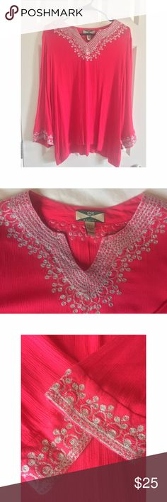 525 America Women's Tunic 525 America pink viscose, lightweight tunic with beautiful silver / metallic embroidery along collar and cuffs. Condition is like new, no signs of wear. 525 America Tops Tunics