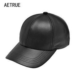 6f7a42947d4 Plain Men Baseball Cap Women Leather Winter Dad For Hats PU Bone Adjustable   fashion