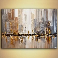 Cityscape painting - original gold silver cityscape painting modern palette knife #7846