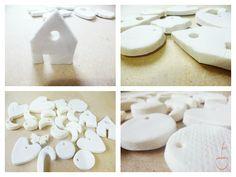 Pincerezas: Adornos navideños con bicarbonato - también vale para etiquetas y botones para envolver paquetes.