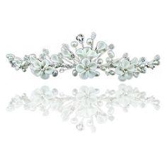 Hübsche Blumen Elfenbein Strass Kristall und Perle Hochzeit Brautschmuck Diadem Tiara - http://schmuckhaus.online/preciousyou/huebsche-blumen-elfenbein-strass-kristall-und