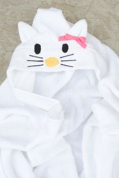 Adorable Hello Kitty Hooded Towel for the kiddos (or big folks, too)! Tutorial with link to the basic towel shape tutorial as well.