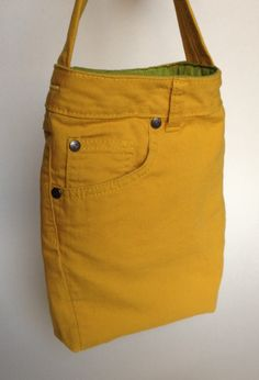 The UPPOCKETS Yellow bag made from upcycled denim jeans by ejhern, via Etsy
