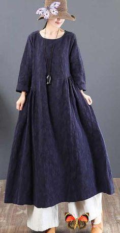2018-navy-linen-dresses-casual-jacquard-fall-dresses-vintage-tunic-big-hem-caftans3<br> Linen Dresses, Cotton Dresses, Fall Dresses, Casual Dresses, Fashion Pants, Fashion Outfits, Pakistani Fashion Casual, Autumn Clothes, Plus Size Maxi Dresses