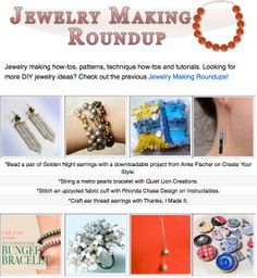 16 jewelry making how-tos, patterns, technique how-tos and tutorials!