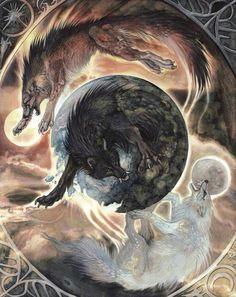 Hati and Skoll, children of Fenrir