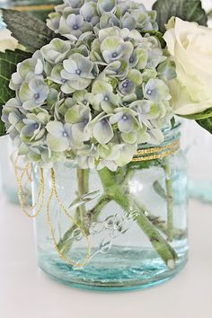 from Vibeke Design Hortensia Hydrangea, Blue Hydrangea, Hydrangeas, Vase Transparent, Vibeke Design, Blue Mason Jars, Deco Floral, Garden Pictures, Flower Power
