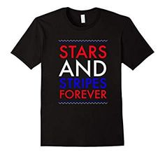 Mens Stars and Stripes Forever Fourth of July T-Shirt  2XL Black