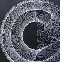 Wall Decor Modern Abstract String Art Metallic by FeniksArtDeco