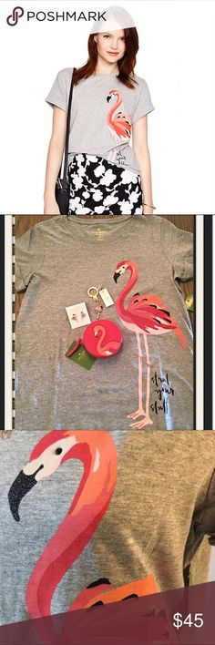 ✨Kate Spade Flamingo Tee✨ ✨Kate Spade Flamingo Tee✨100% cotton✨Crew Neck✨ Sold Out Everywhere✨ kate spade Tops Tees - Short Sleeve