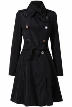 Black Long Sleeve Epaulet Belt Trench Coat