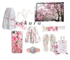 """""""sakura aesthetic"""" by fienoomens ❤ liked on Polyvore featuring Chicwish, Ted Baker, Casetify, Blossom and Twigs & Honey"""