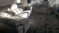 Meridian sofa and chaise and Meridian armchair in fabric. Seats with electric reclining seats and chaise with sliding seat and storage. Delivered to our client in London. Modern Sofa, Modern Bedroom, Contemporary Furniture, Leather Bed, Sofa Design, Recliner, Sofas, Armchair, Electric