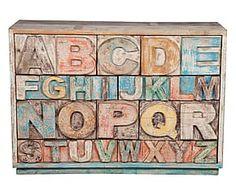 Cassettiera in legno Alfabeto arancione - 120x86x40 cm
